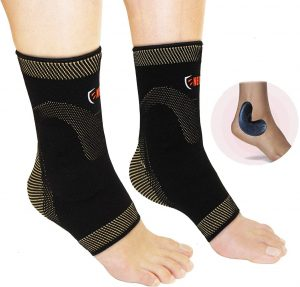 copper ankle compression sleeve with silicone gel inserts